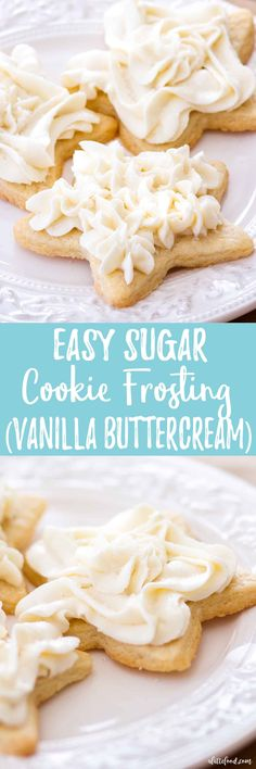Sugar Cookie Frosting: This easy homemade vanilla frosting (vanilla buttercream) is the perfect sugar cookie frosting! It's light and fluffy, and full of sweet vanilla flavor. This vanilla frosting is my favorite topping for homemade sugar cookies!