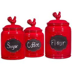 The Home Essentials & Beyond Chalk Rooster Canisters are perfect for keeping flour, sugar, and tea fresh and accessible on your countertop. Charming rooster lids, and chic chalkboard labels provide a vintage farm style look to your kitchen. Rooster Kitchen Decor, Red Kitchen Decor, New Kitchen, Kitchen Ideas, Rooster Decor, Kitchen Stuff, Kitchen Gadgets, Kitchen Dining, Chicken Kitchen Decor