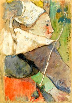 Paul Gauguin 1848 - 1903, Bretonne De Pont-Aven De Profil