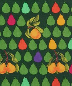 LIBERTY ART FABRICS, JACK AND CHARLIE D TANA LAWN, £22.00. Jamie Oliver collaborated on the Taste series from the autumn/winter 2013 Tana Lawn collection.  Jack and Charlie is a conversational pear print inspired by a furnishing design. Originally created in the early 1990s by Jack Prince, the print was part of a group of fruit and vegetable patterns.