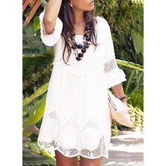 445546fc8c11 Lace/Solid 3/4 Sleeves Shift Above Knee Casual/Party Dresses Types Of