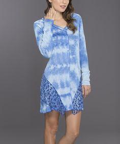 Blue Cloud Button-Front Dress - Women #zulily #zulilyfinds