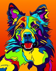 Multi-Color Border Collie Dog Breed Matted Prints & Canvas Giclées