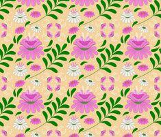 Flora fabric by diseniaz on Spoonflower - custom fabric Custom Fabric, Spoonflower, Flora, Curtains, Shower, Prints, Design, Rain Shower Heads, Blinds