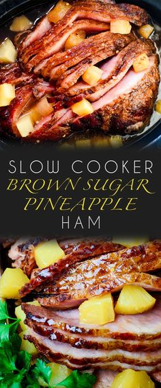 Slow Cooker Ham is a classic and iconic meal yet there's so many variations on this recipe. Here is my go-to for the best Slow Cooker Brown Sugar Pineapple Ham ever easy to make with just 5 ingredients - and so delicious! - May 04 2019 at Slow Cooker Ham Recipes, Slow Cooked Meals, Crock Pot Slow Cooker, Pork Recipes, Cooking Recipes, Ham In Slow Cooker, Baked Ham Recipes, Recipes For Ham, Best Crockpot Recipes