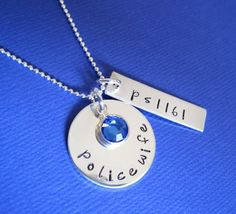 Love this necklace for police wives! You can customize it as well. shieldedhearts