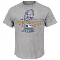 Majestic Men's Big & Tall Chicago Cubs World Series Champ Locker Room... ($30) ❤ liked on Polyvore featuring men's fashion, men's clothing, men's shirts, men's t-shirts, grey, mens grey shirt, mens t shirts, mens big and tall t shirts, mens big and tall shirts and big tall mens shirts