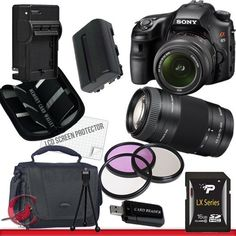 Sony Alpha SLT-A65 DSLR Digital Camera with 18-55mm & SAL 75-300 Lens Package 2 by Sony. $1099.00. Package Contents:  1- Sony Alpha SLT-A65 DSLR Digital Camera with 18-55mm & SAL 75-300 Lens with all supplied accessories 1- 16GB SDHC Class 10 Memory Card 1- Rapid External Ac/Dc Charger Kit   1- USB Memory Card Reader  1- Rechargeable Lithium Ion Replacement Battery  1- Weather Resistant Carrying Case w/Strap  1- Pack of LCD Screen Protectors  1- Camera & Lens Cleaning Kit S...
