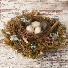 Spring Bird Nest with Eggs Primitive-Spring Home Décor, Primitive Spring Decorations, Spring Decorations, Birds Nest, Decorated birds Nest, ...