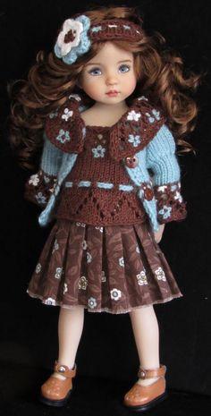 Sweater,jumpsuit,hat,bracelet&shoes set made for effner little darling dolls Crochet Doll Clothes, Knitting Dolls Clothes, Knitted Dolls, Girl Doll Clothes, Doll Clothes Patterns, Crochet Dolls, Barbie Clothes, Girl Dolls, Crochet Baby