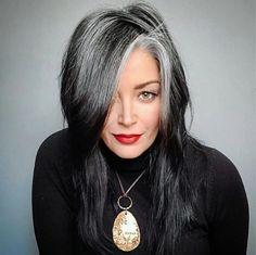Black Hair Going Grey, Long Gray Hair, Silver Grey Hair, Going Gray, Gray Hair Growing Out, Grow Hair, Charcoal Hair, Grey Hair Transformation, Silver Haired Beauties