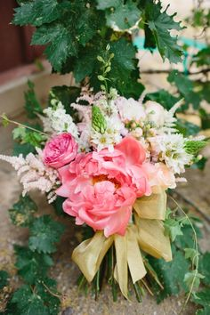 pink wedding bouquet http://www.weddingchicks.com/2013/10/03/pink-and-gold-wedding-3/