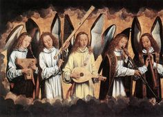 Angel Musicians - left panel by Hans Memling, 1485