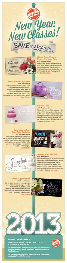 Awesome s-curve, infographic-like design in this email from Craftsy! #emaildesign #emailmarketing