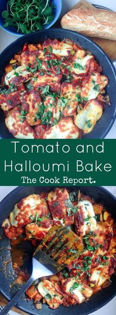 This halloumi bake perfectly combines the healthy freshness of vegetables with the chewy, salty halloumi for a delicious vegetarian dinner. #Jamiespartymenus #Jamiesveganandvegetarianrecipes