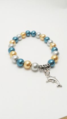Dolphin Pearl Bracelet Silver Gold and Blue by VickysLittleSecrets, $11.00
