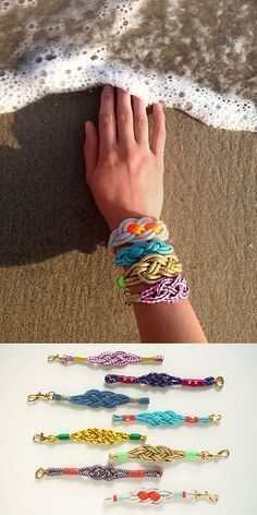 DIY Easy Nautical Knot Rope Bracelet Tutorial from Etsy here. For more knot jewelry and knot DIYs (gorgeous Anthropoligie knockoff necklace here and a loose celtic knot necklace here) go here: truebluemeandyou.tumblr.com/tagged/knots For a dressed up satin cord version from inspiration & realisation go here.