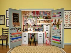 Awesome way to organize a craft closet or office space. Minimal cost and minimal use of space. Genius!