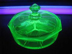 shopgoodwill.com: Vintage Vaseline Glass EAPG Octagonal Candy Dish