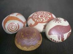 Chumash symbols. I would like to have rocks like these as part of our general table decor.