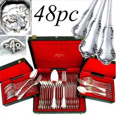 Antique French Sterling Silver 48pc Flatware Service by Pierre Queille, Hallmarked, 4pc setting for 12 from Antique Boutique on Ruby Lane