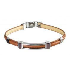 Man Steel And Leather Bracelet Marlu' - Bracciale Uomo Cuoio e Acciaio Marlù