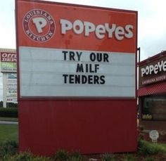 Try Our Great New Saggy Chicken Breasts - Popeyes Milf Tenders - Sign Fail  ---- best hilarious jokes funny pictures walmart humor fail
