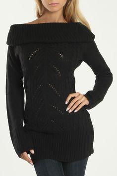 Off the shoulder black Laurence Sweater