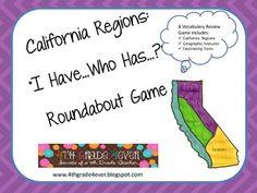 Creswell Kelly California Regions I Have. California Regions, California History, Classroom Projects, Classroom Fun, 4th Grade Activities, 3rd Grade Social Studies, Youth Programs, Social Science, Fourth Grade
