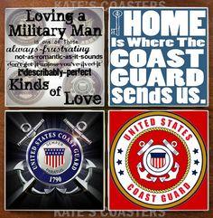 Set of 4 United States Coast Guard military by KatesCoasters, $10.00