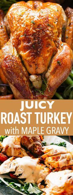 Juicy Roast Turkey Recipe with Maple Gravy - Buttery, garlicky, perfectly juicy . - Juicy Roast Turkey Recipe with Maple Gravy – Buttery, garlicky, perfectly juicy and tender Roast - Turkey In Oven, Oven Roasted Turkey, Baked Turkey, Cooking Turkey, Roast Turkey Recipes, Chicken Recipes, Young Turkey Recipe, Best Juicy Turkey Recipe, Sauces