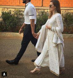 Nice white & gold chikankari kurti paired with cigarette pants Look Fashion, Indian Fashion, Fashion News, Fashion Trends, Pakistani Dresses, Indian Dresses, Indian Outfits, Indian Attire, Indian Wear