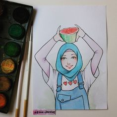 Drawing Lessons, Life Drawing, Alhamdulillah For Everything, Hijab Drawing, Street Hijab Fashion, Girl Hijab, Muslim Girls, Character Drawing, Cartoon Art