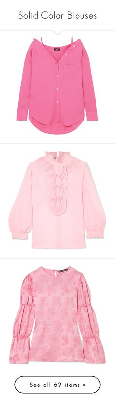 """""""Solid Color Blouses"""" by shamrockclover ❤ liked on Polyvore featuring tops, blouses, pink, off-shoulder tops, off the shoulder tops, off shoulder blouse, off the shoulder shirts, pink silk shirt, ruffle blouse and off-the-shoulder blouses"""