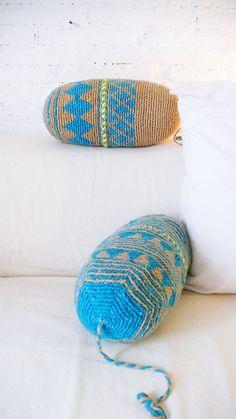Kissen Sie häkeln Marrakesch - Beige und blau - Diamanten