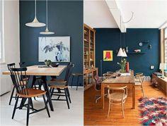 couleur de peinture murale foncé: bleu pétrole dans la salle à manger