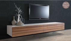 Ikon White + Walnut Floating TV - Large - Delux Deco