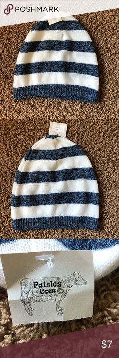 Paisley Cow Beanie NEW never worn Striped Beanie hat. Made in Wisconsin by  Kathy sold 2e6a382988d8