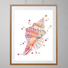 Sea Shell Watercolor Print, colorful zentangle doodle Shell Illustration, Sea life, ocean life Print, Wall Decor, vertical poster [NO 207] by MimiPrints on Etsy https://www.etsy.com/listing/249757422/sea-shell-watercolor-print-colorful