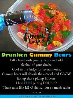 Super Drinking Games For Parties Alcohol Gummy Bears Ideas Easy Alcoholic Drinks, Party Drinks Alcohol, Alcohol Drink Recipes, Fun Drinks, Alcohol Jello Shots, Fireball Jello Shots, Fireball Recipes, Beverages, Candy Drinks