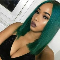 Green hair yay or nay? Book our dyeing service Teal Hair, Green Hair, Pretty Hairstyles, Wig Hairstyles, Extreme Hair Colors, Best Virgin Hair, Natural Hair Styles, Short Hair Styles, Hair Laid
