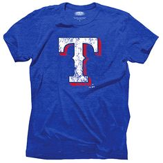 Texas Rangers Triblend Logo T-Shirt by Majestic Threads