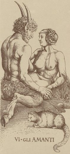 "satyrsandnymphs: ""Albrecht Dürer - Tarot card VI. The Lovers """