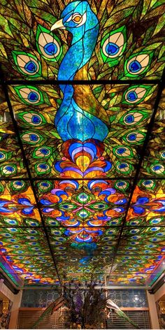 The spectacular stained glass ceiling at the Peacock Room Lounge. A place in the USA, in Spokane, Washington. Jaw dropping in its beauty.