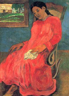 Femme a robe rouge - Paul Gauguin 1891