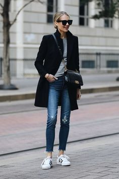 Blonde Woman Wearing Zara Black Wool Coat Grey Sweater Madewell Denim Jeans adidas superstar sneakers Chanel Black Boy Bag Fashion Jackson Dallas Blogger Fashion Blogger Street Style