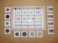 British Money Matching Game This is a very simple matching game. All you have to do is match the money by placing the individual cards on top of the corresponding amount on the A4 board. A fun way for children to learn and recognise British money. Children are expected to be able to recognise coin values in Year 1. Contains 1 A4 board and 12 individual cards. Small cards measure 5.5 cm x 5.5. cm *Great for early learning or children with SEN *Bright and colourful *Laminated with 250 micron…