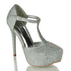 Kay01 Silver By Bella Luna, Glitter Mesh Dress Rhinestone Studded T-Strap Platform Stiletto Heels