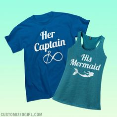 This classic tee is perfect for you to wear to show everyone that you are your woman's captain! You help each other get where you need to go in life. Check out the matching shirts where she can claim herself as your mermaid! Beach Shirts, Vacation Shirts, Cute Shirts, Family Cruise Shirts, Vacation Wear, Family Tees, Hawaii Vacation, Summer Shirts, Cruise Outfits