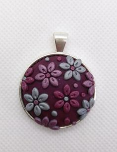 Embrodiery Applique Polymer Clay Pendant/necklace- shimmery purple, silver and burgundy flowers by NadoandLola on Etsy